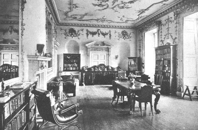 Poltimore College, library in the Saloon.