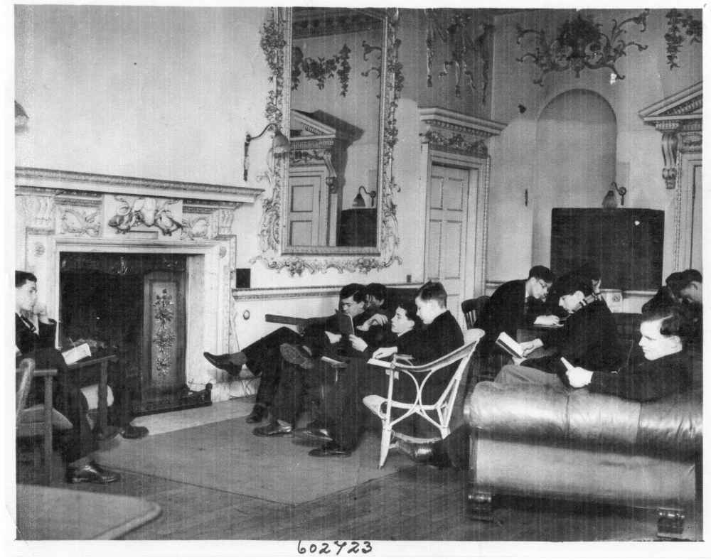Dover College boys in the Saloon set up as a library