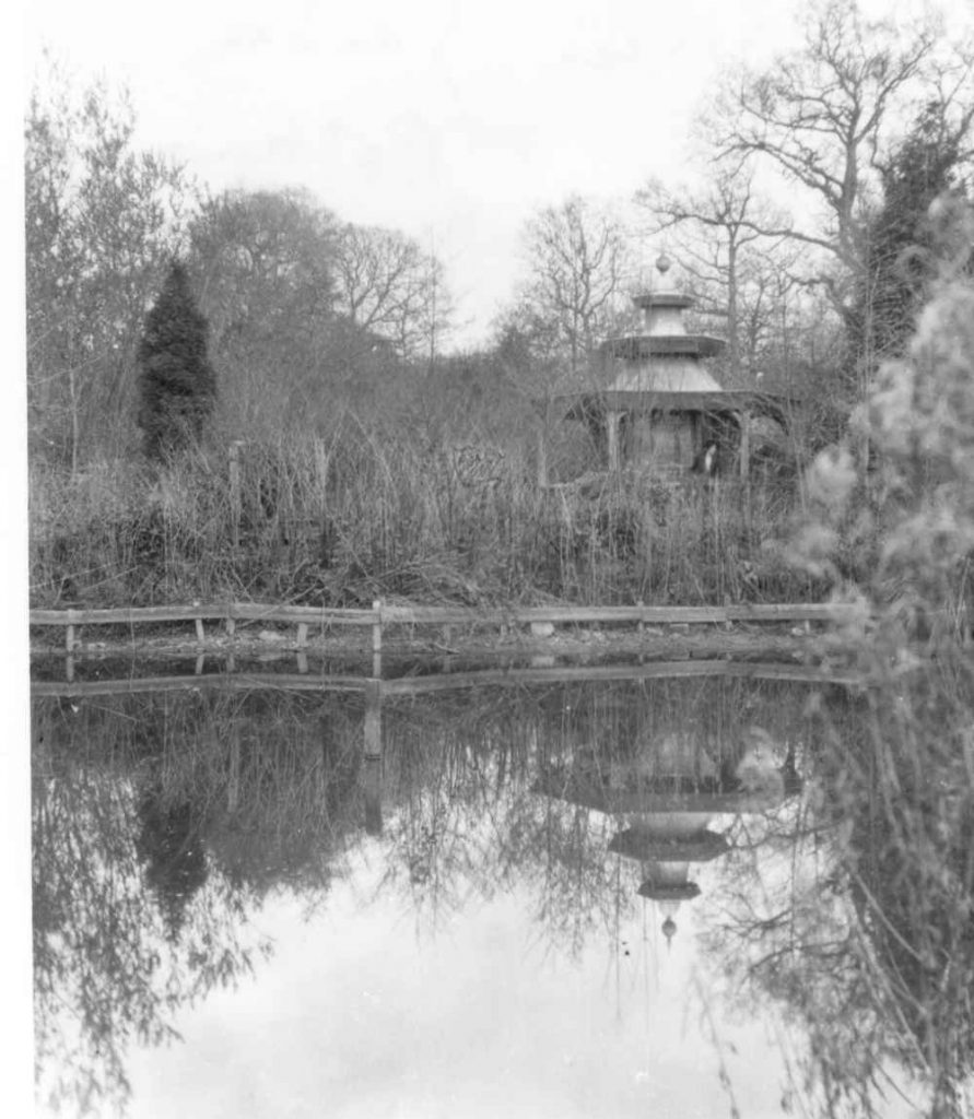 Poltimore House, pagoda in the Chinese Garden c1920